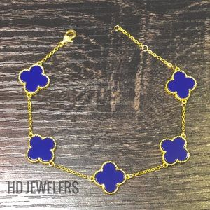 Jewelry - Blue 925 Sterling Silver Clover 18K Gold Bracelet